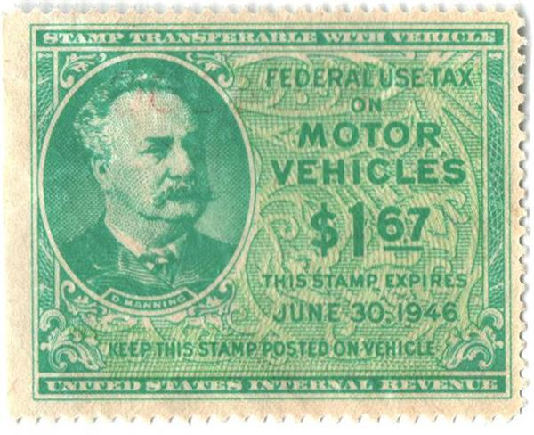 1946 $1.67 Motor Vehicle Use Tax, bright blue green & yellow green (gum on face, control no. & incriptions on back)