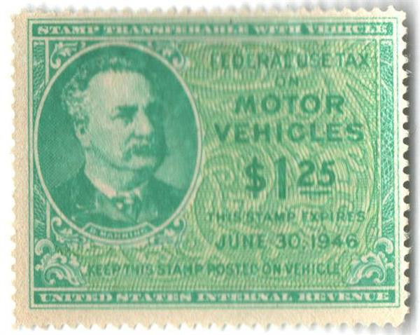 1946 $1.25 Motor Vehicle Use Tax, bright blue green & yellow green (gum on face, control no. & incriptions on back)