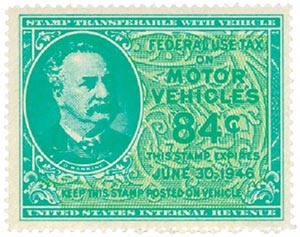 1946 84c Motor Vehicle Use Tax, bright blue green & yellow green (gum on face, control no. & incriptions on back)