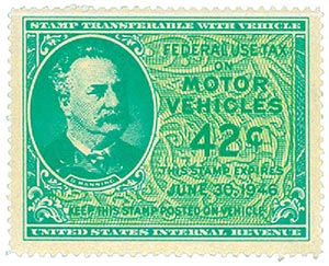 1946 42c Motor Vehicle Use Tax, bright blue green & yellow green (gum on face, control no. & incriptions on back)