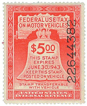 1942 $5 Motor Vehicle Use Tax, rose red (gum & control no. on face, incriptions on back)