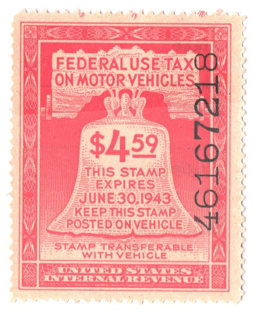 1942 $4.59 Motor Vehicle Use Tax, rose red (gum & control no. on face, incriptions on back)
