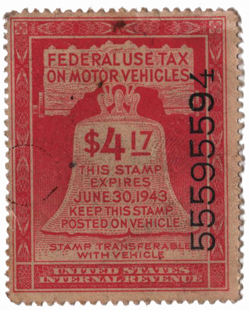1942 $4.17 Motor Vehicle Use Tax, rose red (gum & control no. on face, incriptions on back)