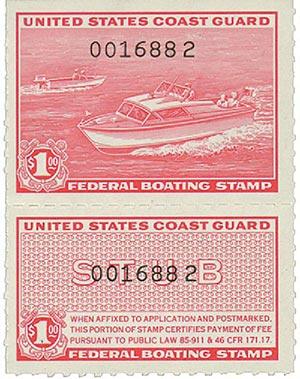 1960 $1 U.S. Coast Guard Boating Tax, rose red, black number overprint