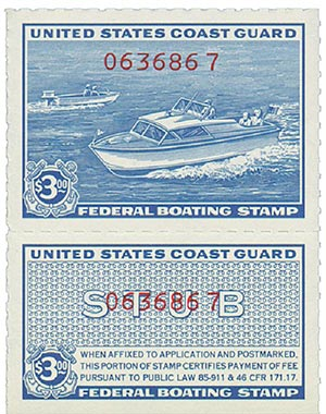 1960 $3 U.S. Coast Guard Boating Tax, blue, red number overprint