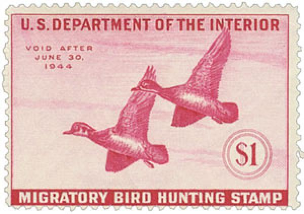 1943 $1.00 Wood Ducks