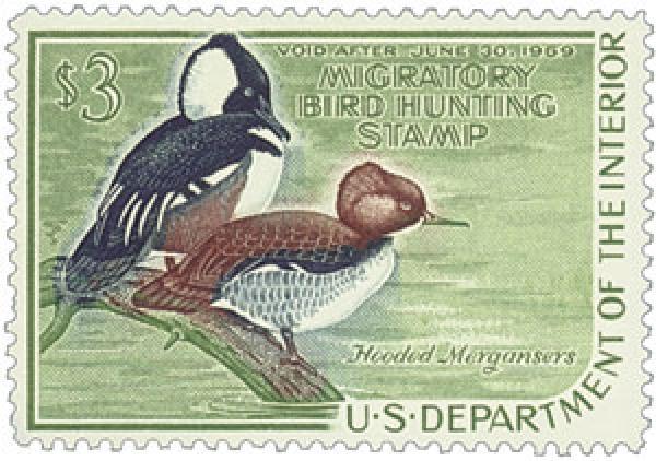 1968 $3.00 Hooded Mergansers