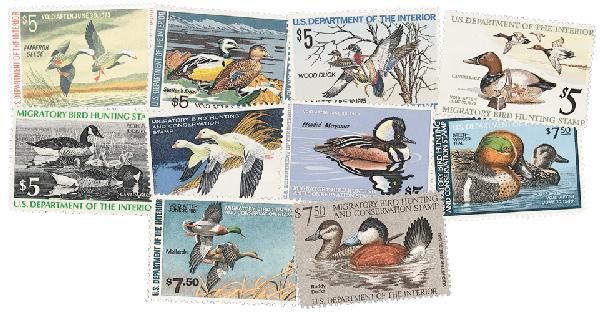1972-81 US Duck Stamp Col. 10v Mint
