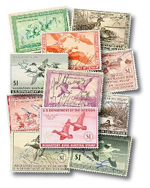 1937-46 Duck Hunting Stamps, set 10 Used