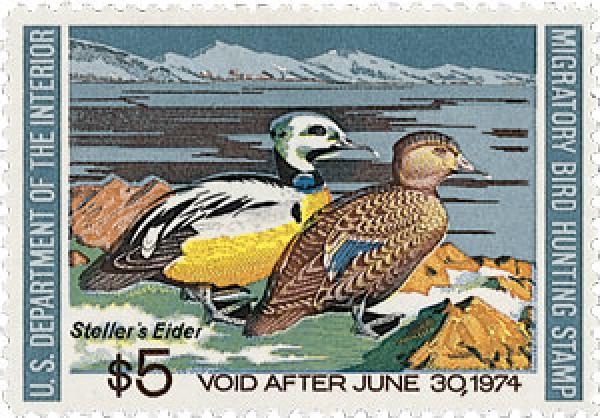 1973 $5.00 Stellers Eiders