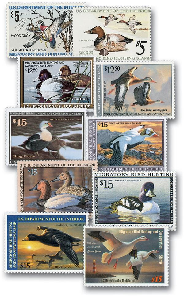 1974-2003 Duck Hunting Permit Stamps,10 Stamps