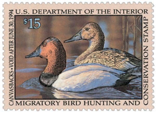 1993 $15.00 Canvasbacks