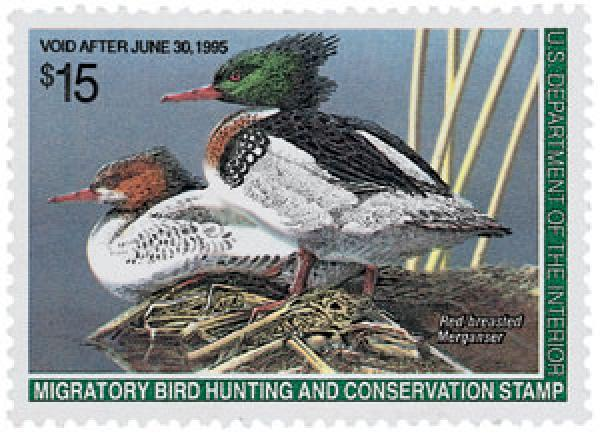 1994 $15.00 Red-breasted Merganser
