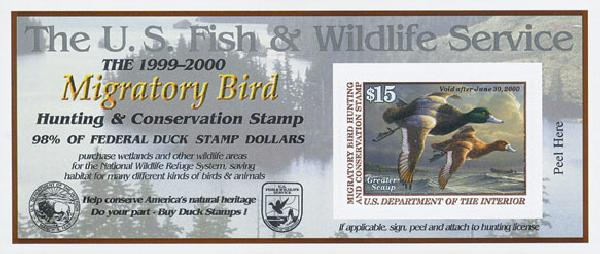 1999 $15 Greater Scaup s/a