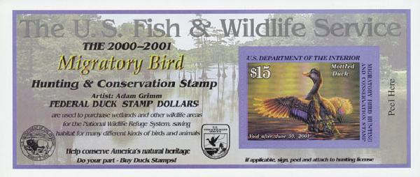 2000 $15 Mottled Duck, s/a