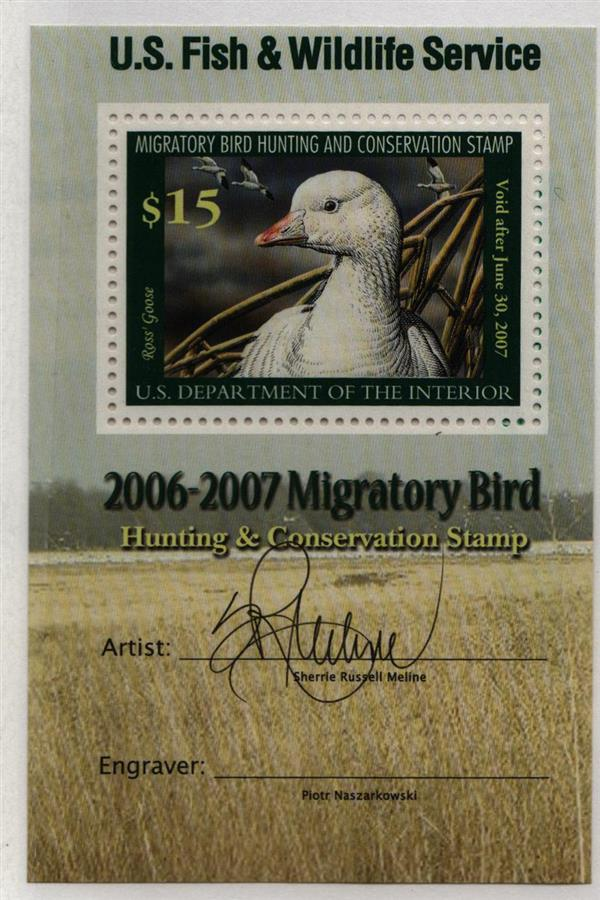2006 $15 Rosss Goose Souvenir Sheet  With Artists and Engravers Signature