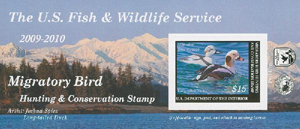 2009 $15.00 Long-Tailed Duck Self Adhesive