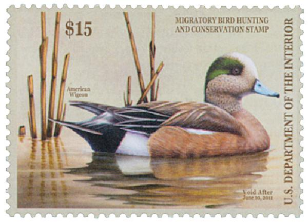2010 $15.00 American Wigeon