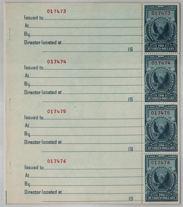1974 $200 dull blue & red bklt pane 10