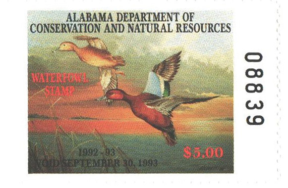 1992 Alabama State Duck Stamp