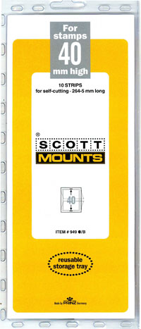 "Scott Mount 265 x 40mm (10.43 x 1.57"") US Postal People Standard, Standard and Semi-Jumbo Commemorative Strip  10 pack"
