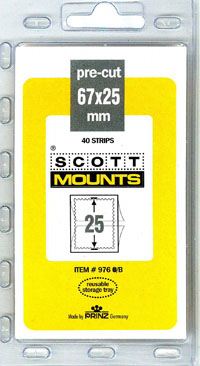"Scott Mounts 67 x 25mm (2.64 x .98"") Plate Number Coils, Strips of 3  Package of 40"