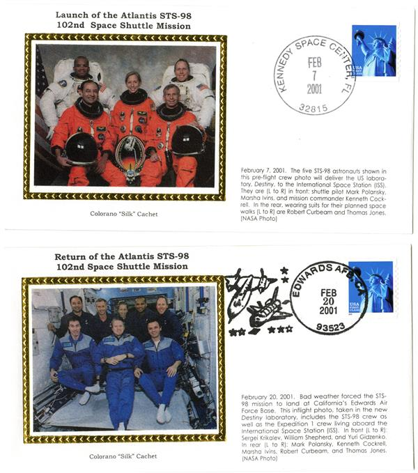 STS-98 Launch and Return Covers