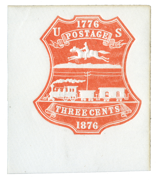 1876 3c Red Stamped Envelope - Cut Square - Plimpton Mfg Co.