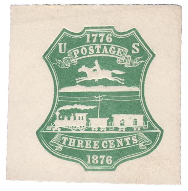 1876 3c Green, Stamped Envelope