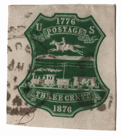 1876 3c Green Stamped Envelope - Cut Square - Plimpton Mfg Co.