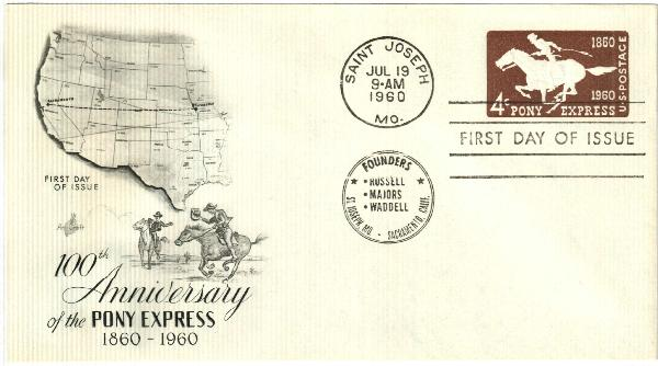 1960 4c Pony Express Centennial Issue Stamped Envelope, brown