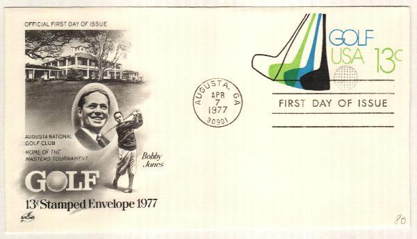 1977 13c Golf Stamped Envelope