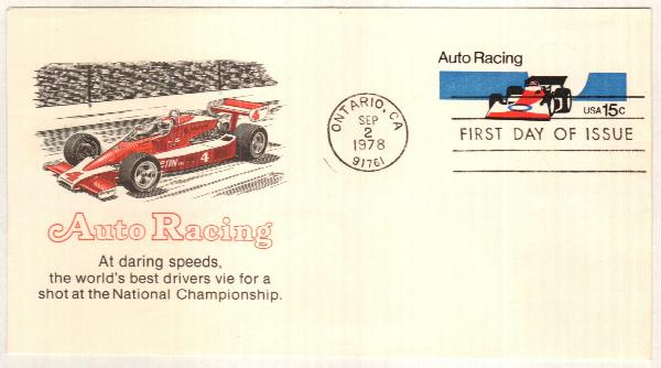 15c red,bl & bk (1976) Auto Racing
