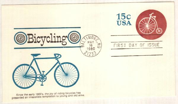 15c Bl.& Rose Claret (1980) Bicycle