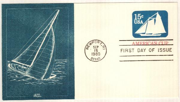 1980 15c Americas Cup Stamped Envelope