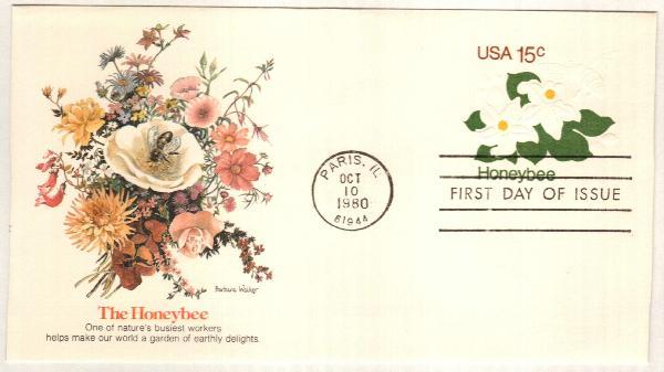 1980 15c Honeybee & Orange Blossums Env.