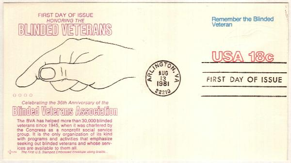 1981 18c Hand & Braille Stamped Envelope