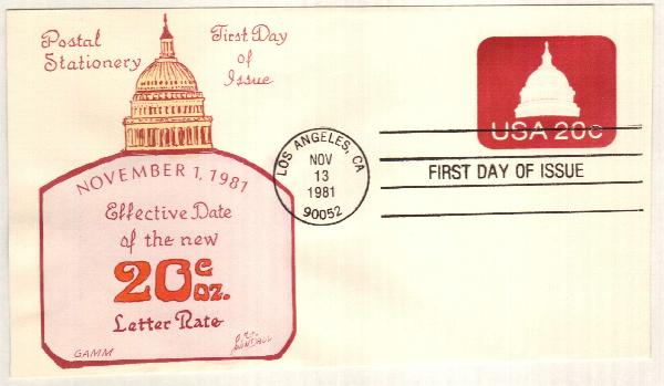 1981 20c Capital Dome Stamped Envelope