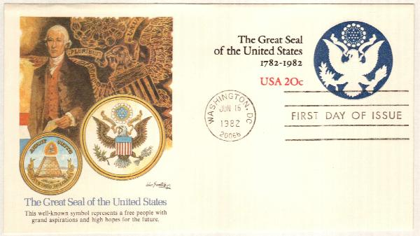 1982 20c Great Seal of the U.S. Envelope