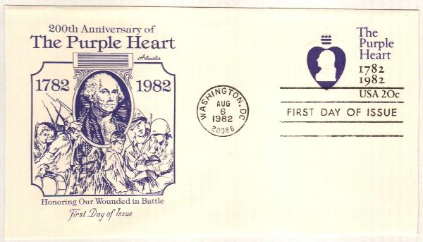 1982 20c Purple Heart Stamped Envelope