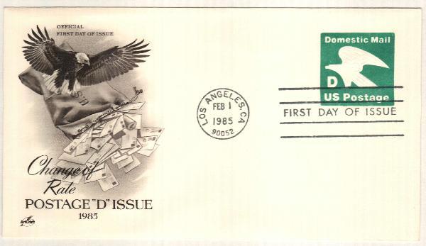 """1985 22c """"D"""" Domestic Mail Envelope"""