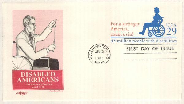 1992 Disabled Americans stamped envelope