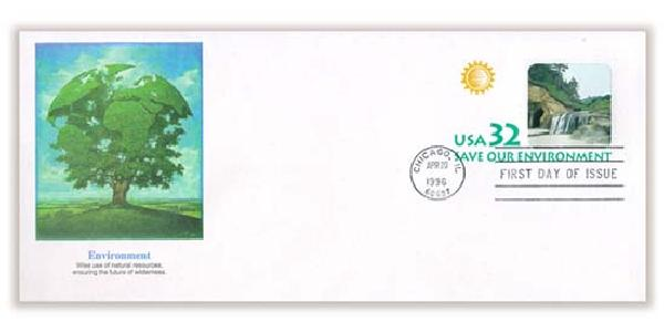 1996 32c Environment Stamped Envelope FDC