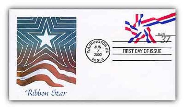 2002 37c Ribbon Star 6 3/4 PSE FDC