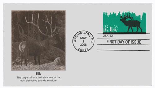 2008 42c Elk Stamps Envelope