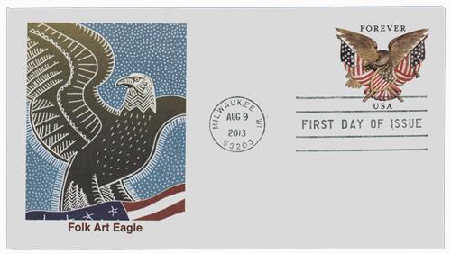 2013 46c Folk Art Eagle St. Env.