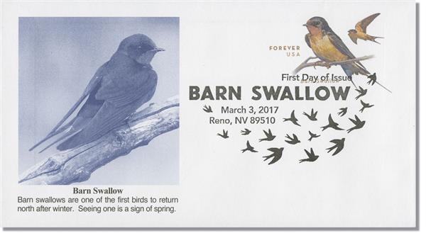 2017 49c Barn Swallow - Stamped Envelope