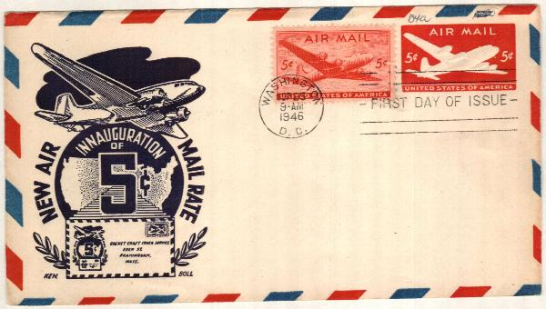 1946 5c Air Post Envelope, carmine