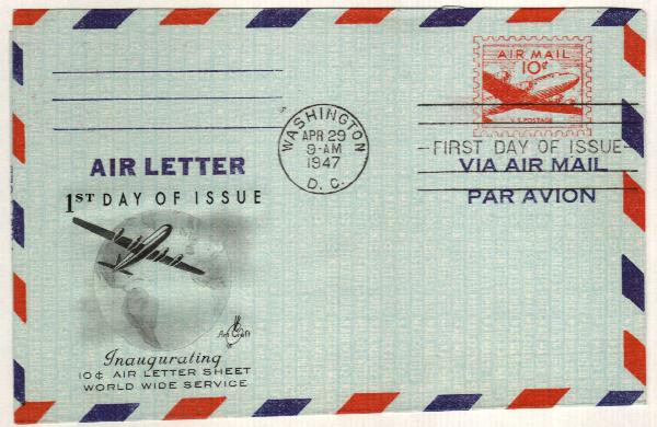 1947 10c Air Post Envelope, bright red