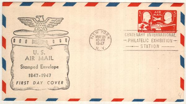 1947 5c Air Post Envelope, carmine